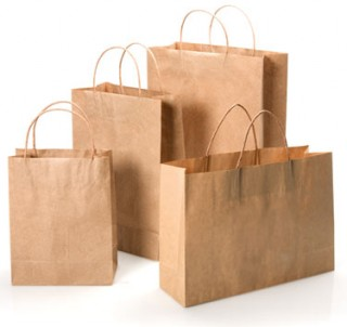 Shopping, retail paper bag with twisted paper handle